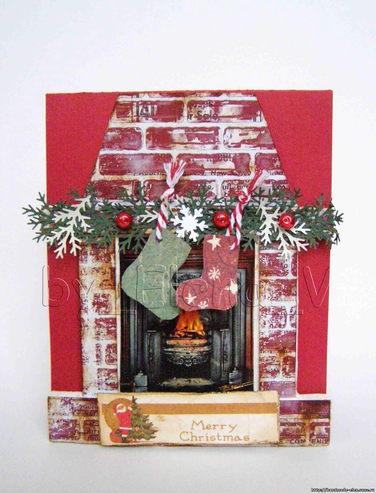 Как сделать на рождество открытку 32